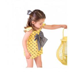 Vestido Caballos Amarillo & Gris Manga Volante