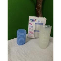 Vasos lactancia Avent, con tapas. Segunda mano