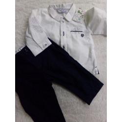 Conjunto de pantalón y camisa. Talla 1-2 meses. Segunda mano