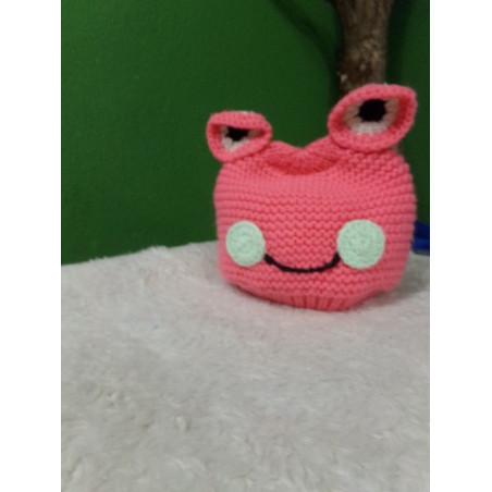 Gorro de lana rosa. Segunda mano talla unica