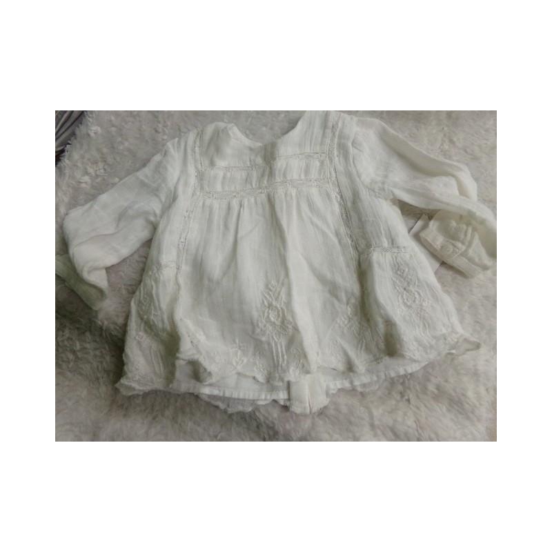 Blusa Zara talla 6-9 meses color marfil. Segunda mano