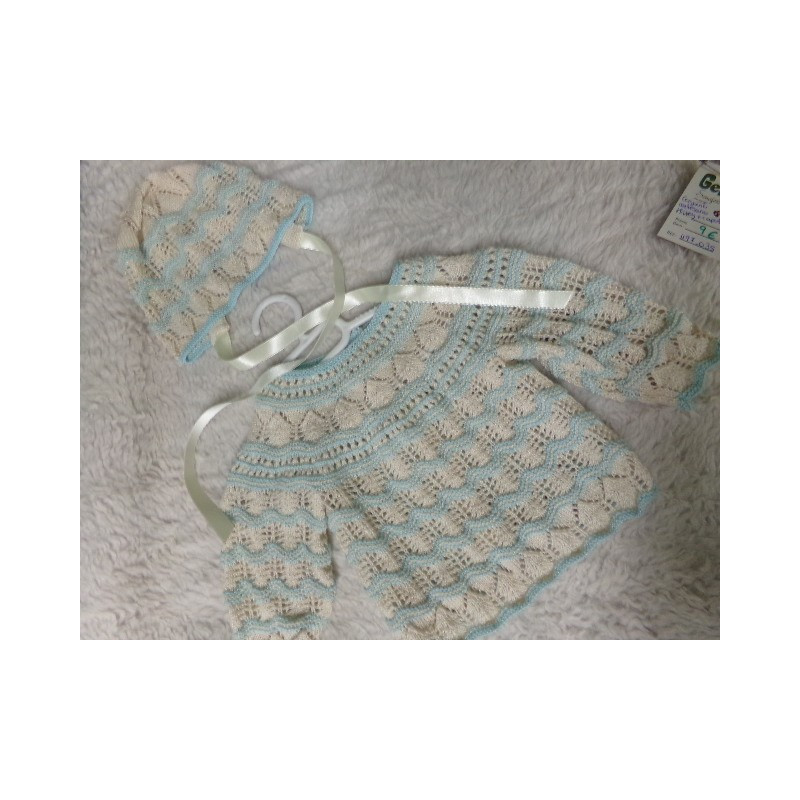Conjunto artesano de jersey y capota talla 3 meses. Segunda mano