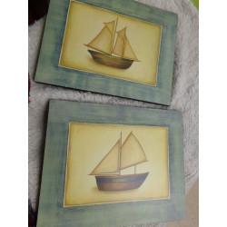 2 Cuadros con motivo barcos