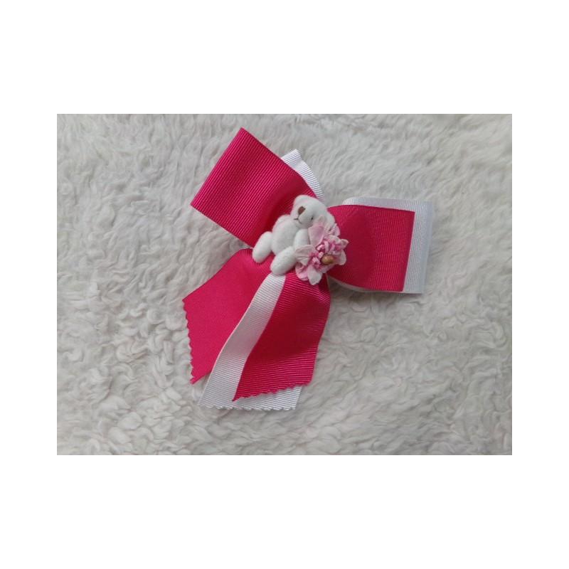 prendedor lacito rosa y blanco. Sin uso