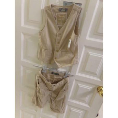 Pantalon corto y chaleco de lino talla 8 años