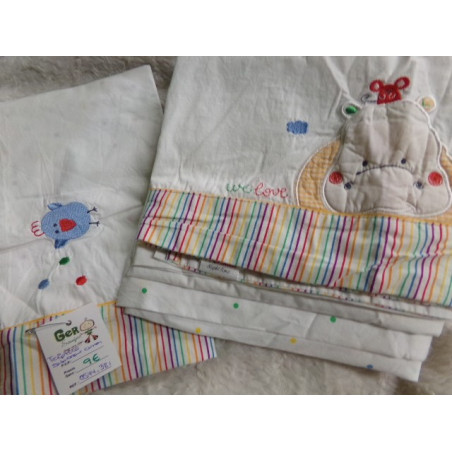 Tríptico de sábanas de cuna. Segunda mano