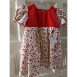 Vestido rojo flores talla 9...
